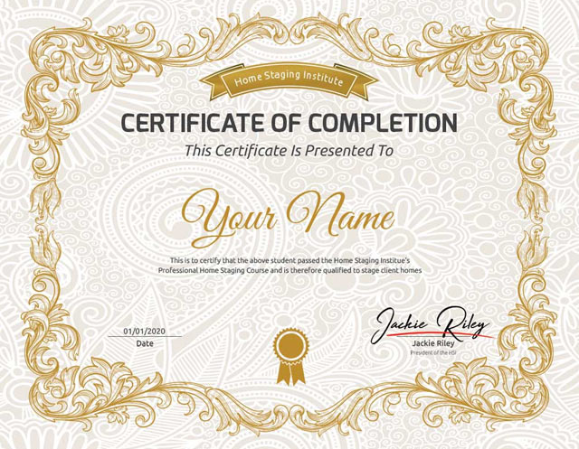 home staging certificate example