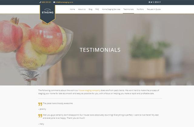 home staging testimonials website