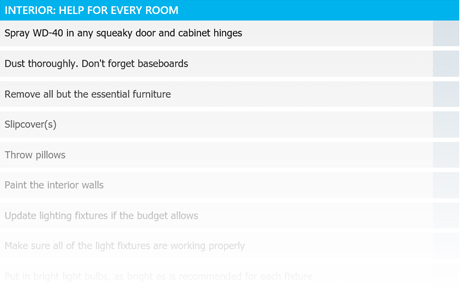 interior home staging checklist template
